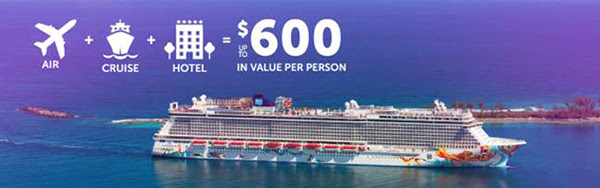 norwegian getaway air+hotel+cruise