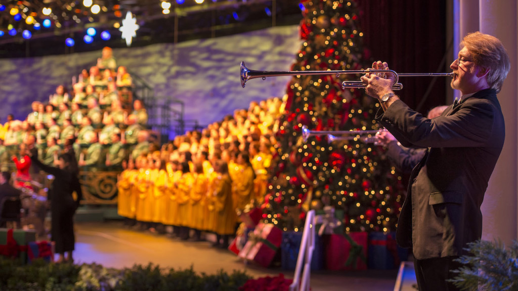 Presented in the America Gardens Theatre at Epcot, Candlelight Processional is one of the most beloved holiday traditions at Walt Disney World Resort. Featuring a joyous retelling of the Christmas story by a celebrity narrator, accompanied by a 50-piece orchestra and a glorious mass choir, this festive performance takes place annually in November and December. Show times are at 5, 6:45 and 8:15 p.m. Epcot is one of four theme parks at Walt Disney World Resort in Lake Buena Vista, Fla. (Kent Phillips, photographer)
