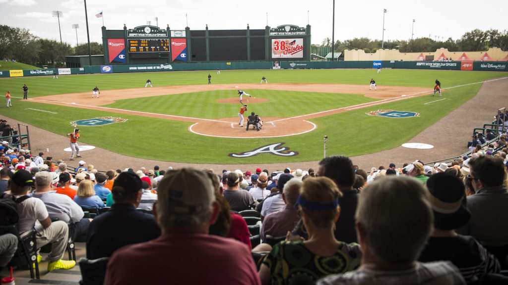 (March 1, 2016): The Atlanta Braves opened Spring Training against the Baltimore Orioles on Tuesday, March 1 at ESPN Wide World of Sports Complex at the Walt Disney World Resort in Lake Buena, Fla.
