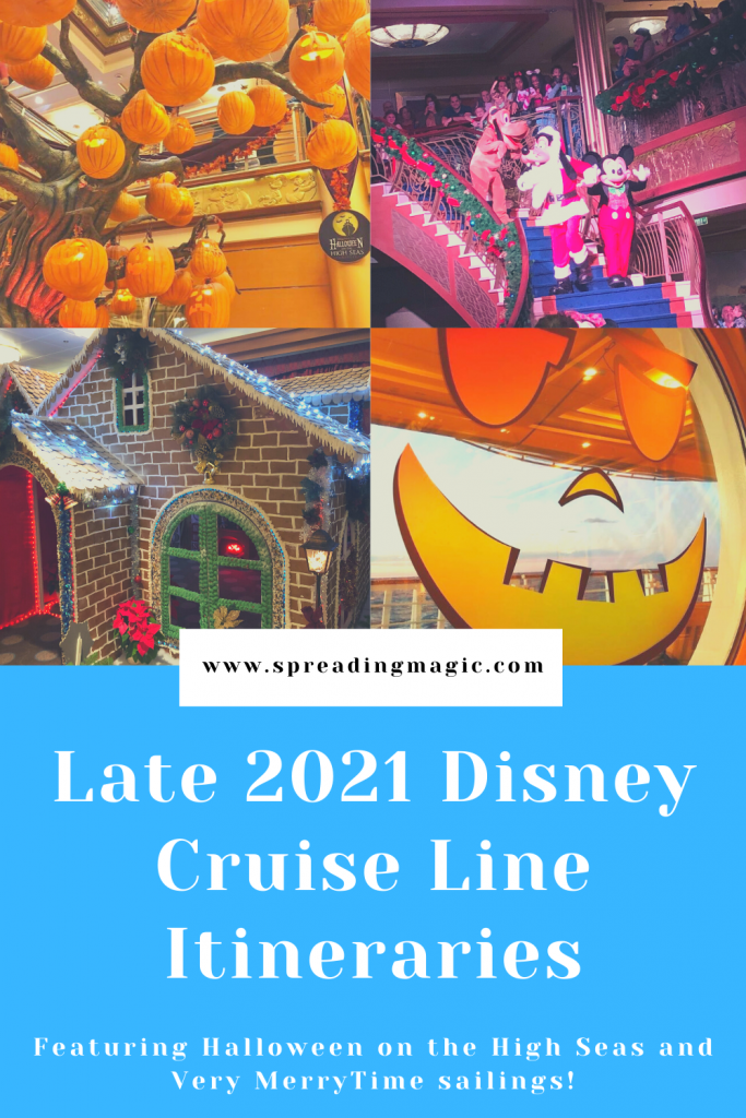 Late 2021 Disney Cruise Line itineraries